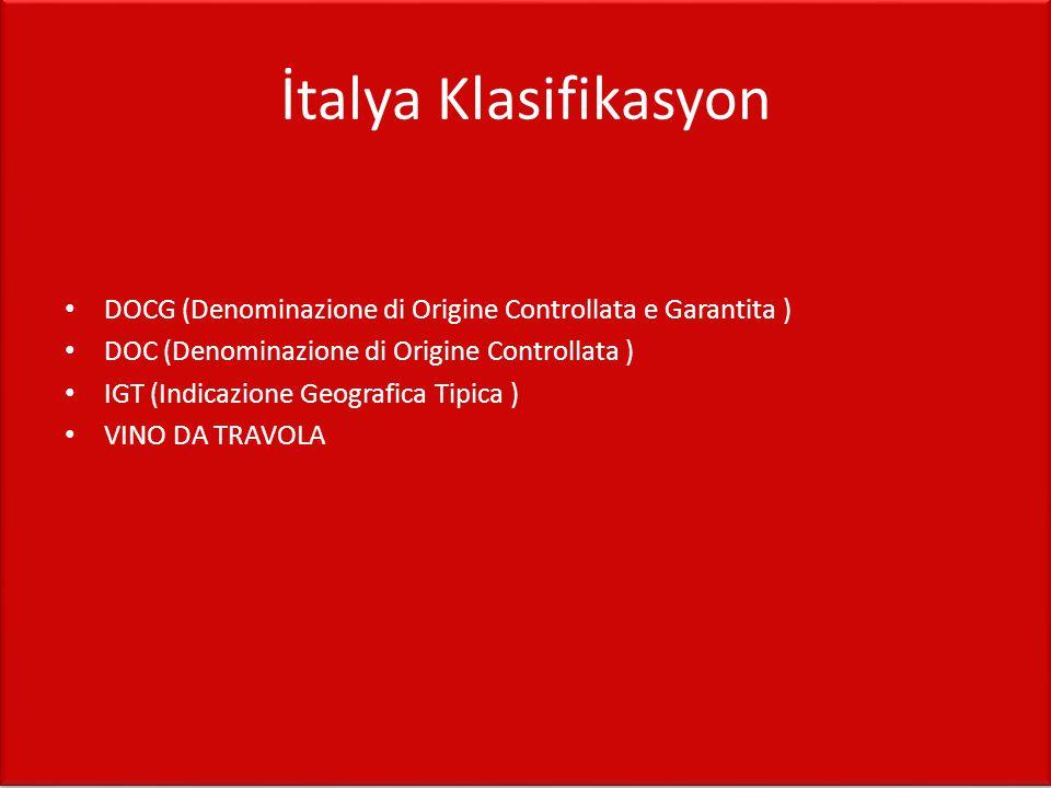 İtalya Klasifikasyon DOCG (Denominazione di Origine Controllata e Garantita ) DOC (Denominazione di Origine Controllata ) IGT (Indicazione Geografica