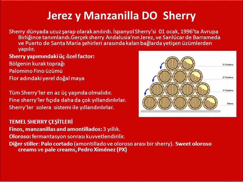 Jerez y Manzanilla DO  Sherry Sherry dünyada ucuz şarap olarak anılırdı. İspanyol Sherry'si 01 ocak, 1996'ta Avrupa Birliğince tanımlandı.Gerçek sher