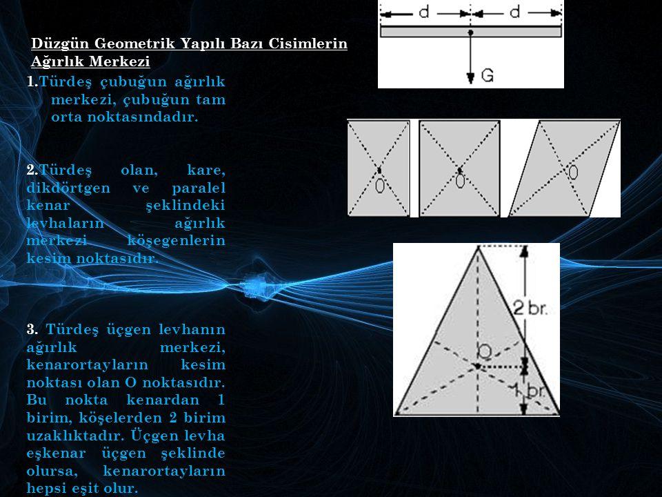 Düzgün Geometrik Yapılı Bazı Cisimlerin Ağırlık Merkezi 1.Türdeş çubuğun ağırlık merkezi, çubuğun tam orta noktasındadır. 2.Türdeş olan, kare, dikdört