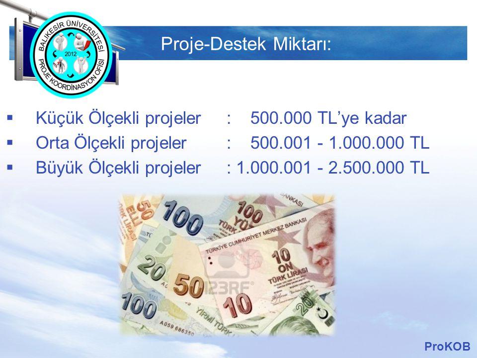 LOGO Proje-Destek Miktarı:  Küçük Ölçekli projeler : 500.000 TL'ye kadar  Orta Ölçekli projeler : 500.001 - 1.000.000 TL  Büyük Ölçekli projeler :