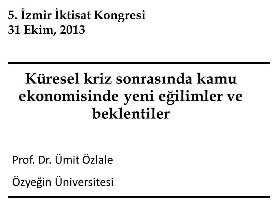 Sunum planı İzmir İktisat Kongreleri'nde kamu ekonomisi Küresel kriz sonrasında kamu ekonomisi Problemler ve politika önerileri