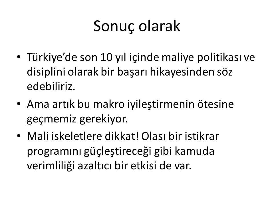 Sonuç olarak Türkiye'de son 10 yıl içinde maliye politikası ve disiplini olarak bir başarı hikayesinden söz edebiliriz.
