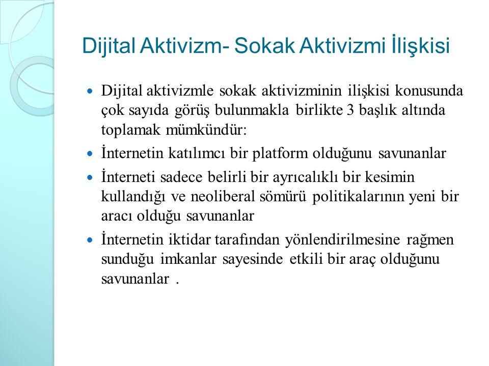 Dijital Aktivizm- Sokak Aktivizmi İlişkisi Dijital aktivizmle sokak aktivizminin ilişkisi konusunda çok sayıda görüş bulunmakla birlikte 3 başlık altı