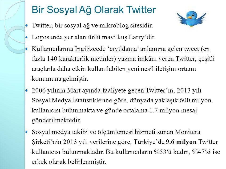 Bir Sosyal Ağ Olarak Twitter Twitter, bir sosyal ağ ve mikroblog sitesidir. Logosunda yer alan ünlü mavi kuş Larry'dir. Kullanıcılarına İngilizcede 'c