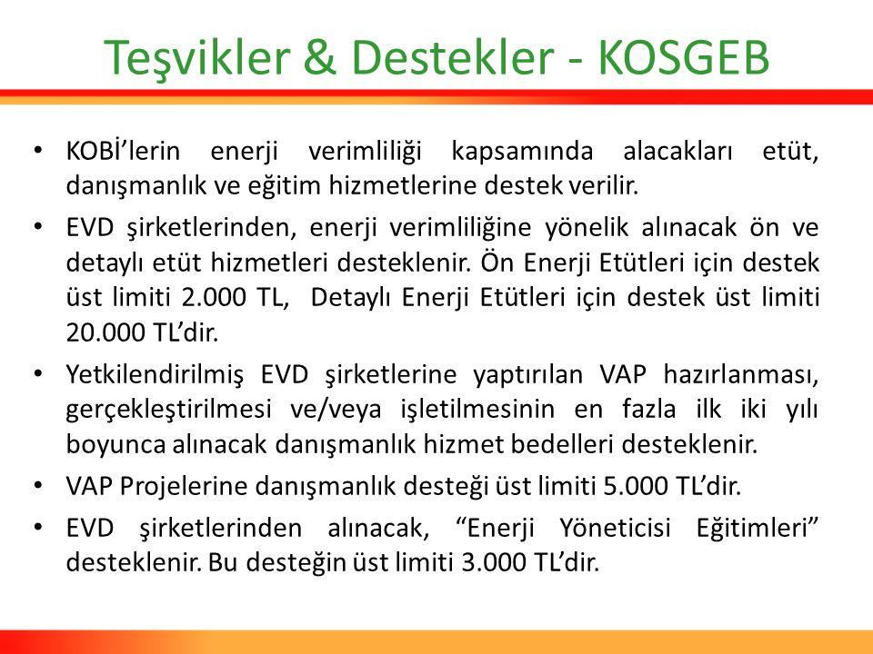 Teşvikler & Destekler - KOSGEB KOBİ'lerin enerji verimliliği kapsamında alacakları etüt, danışmanlık ve eğitim hizmetlerine destek verilir. EVD şirket