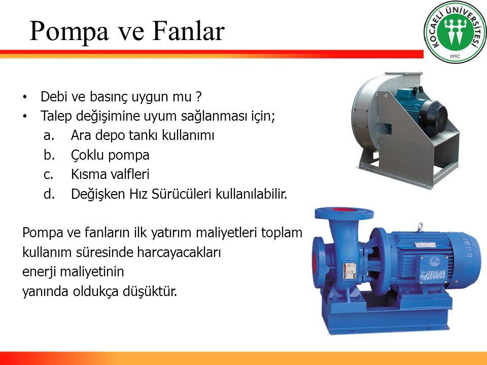 Pompa ve Fanlar Debi ve basınç uygun mu ? Talep değişimine uyum sağlanması için; a.Ara depo tankı kullanımı b.Çoklu pompa c.Kısma valfleri d.Değişken