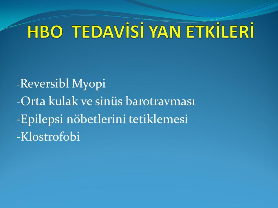 - Reversibl Myopi -Orta kulak ve sinüs barotravması -Epilepsi nöbetlerini tetiklemesi -Klostrofobi