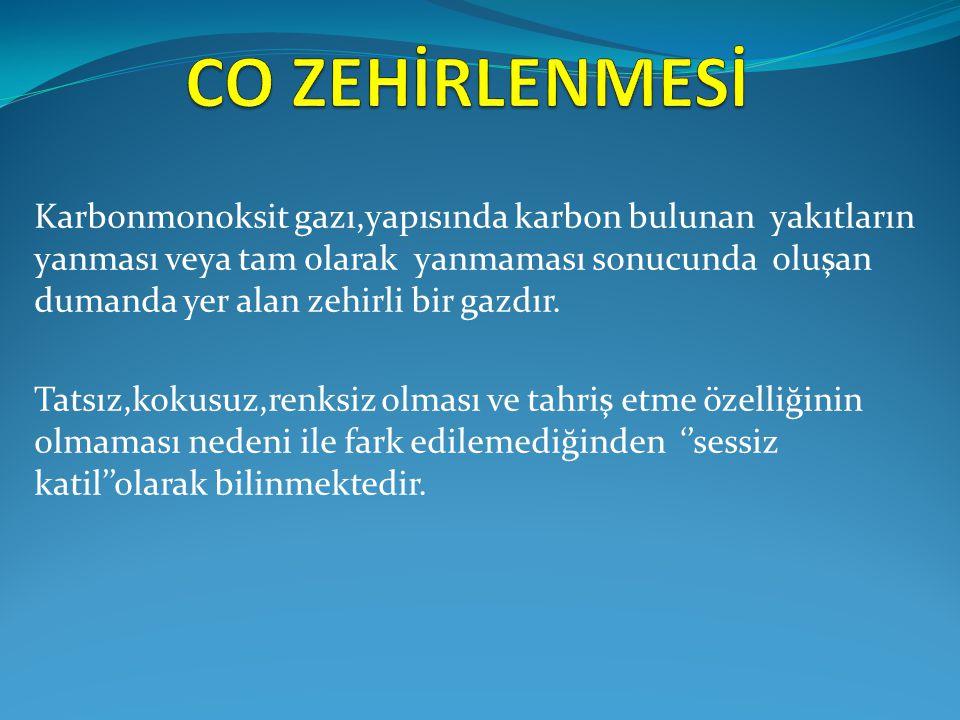 Karbonmonoksit gazı,yapısında karbon bulunan yakıtların yanması veya tam olarak yanmaması sonucunda oluşan dumanda yer alan zehirli bir gazdır. Tatsız