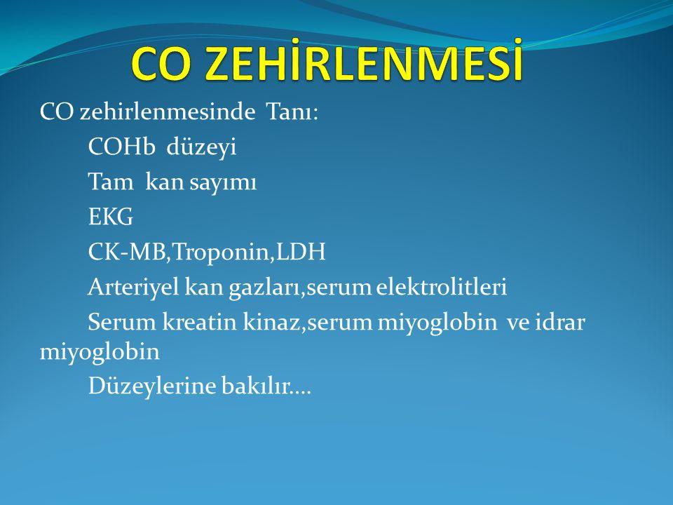 CO zehirlenmesinde Tanı: COHb düzeyi Tam kan sayımı EKG CK-MB,Troponin,LDH Arteriyel kan gazları,serum elektrolitleri Serum kreatin kinaz,serum miyogl