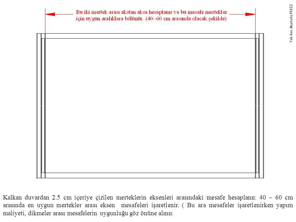 Kalkan duvardan 2.5 cm içeriye çizilen merteklerin eksenleri arasındaki mesafe hesaplanır. 40 – 60 cm arasında en uygun mertekler arası eksen mesafele