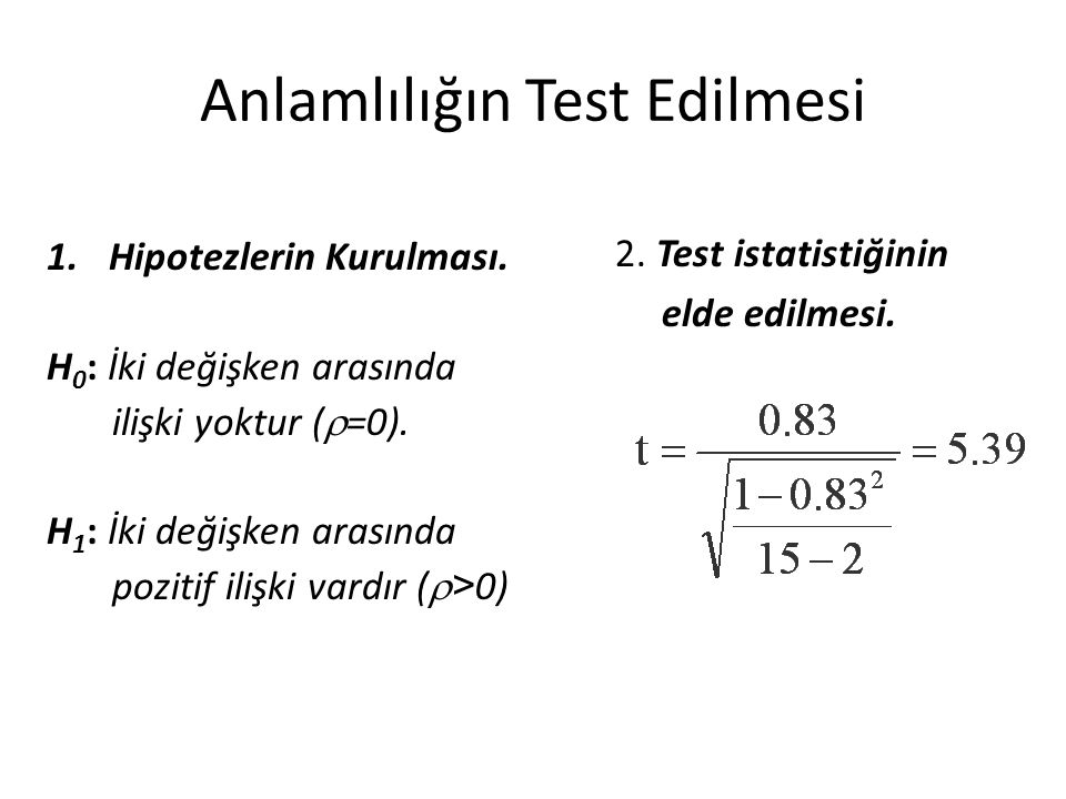 Anlamlılığın Test Edilmesi 1.Hipotezlerin Kurulması. H 0 : İki değişken arasında ilişki yoktur (  =0). H 1 : İki değişken arasında pozitif ilişki var