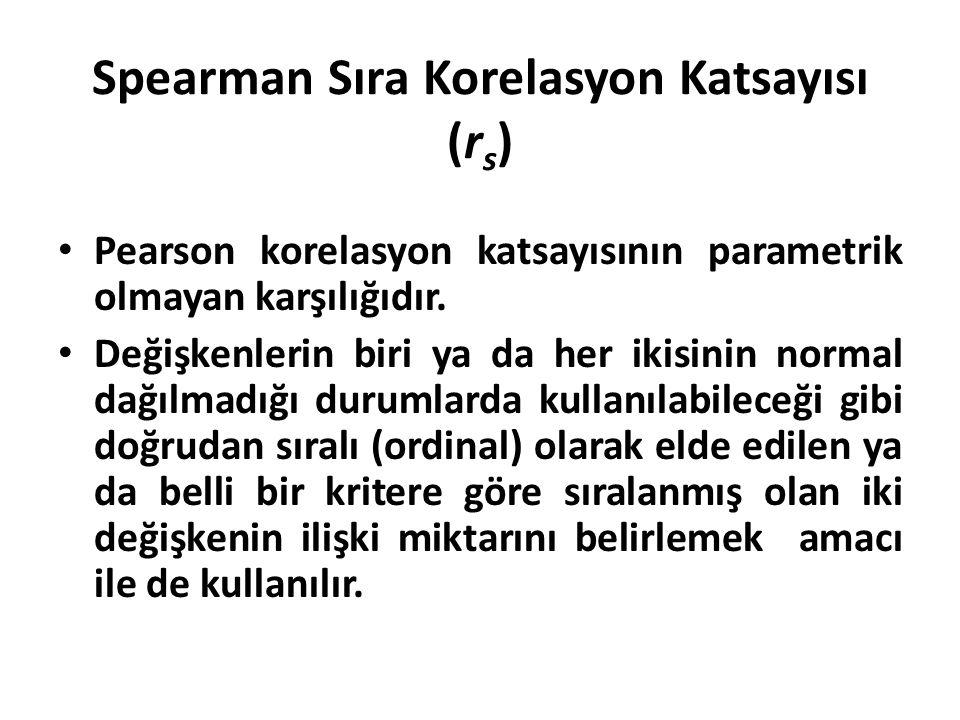 Spearman Sıra Korelasyon Katsayısı (r s ) Pearson korelasyon katsayısının parametrik olmayan karşılığıdır. Değişkenlerin biri ya da her ikisinin norma