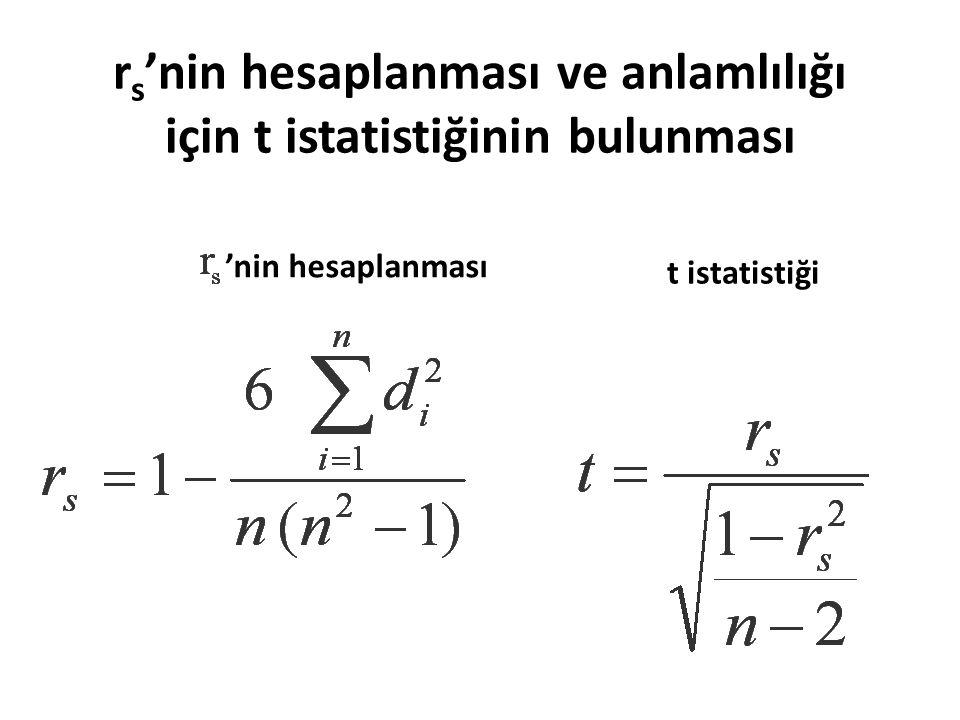 r s 'nin hesaplanması ve anlamlılığı için t istatistiğinin bulunması 'nin hesaplanması t istatistiği
