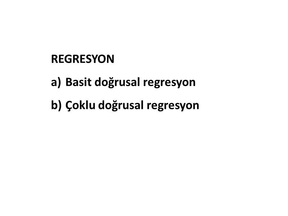 REGRESYON a)Basit doğrusal regresyon b)Çoklu doğrusal regresyon