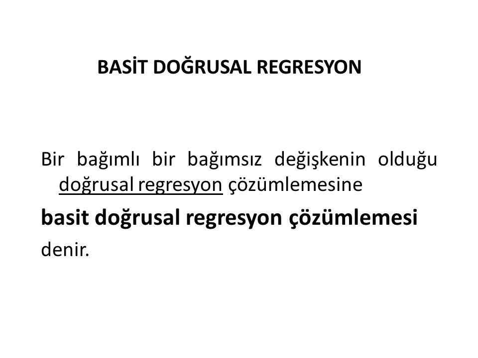 BASİT DOĞRUSAL REGRESYON Bir bağımlı bir bağımsız değişkenin olduğu doğrusal regresyon çözümlemesine basit doğrusal regresyon çözümlemesi denir.