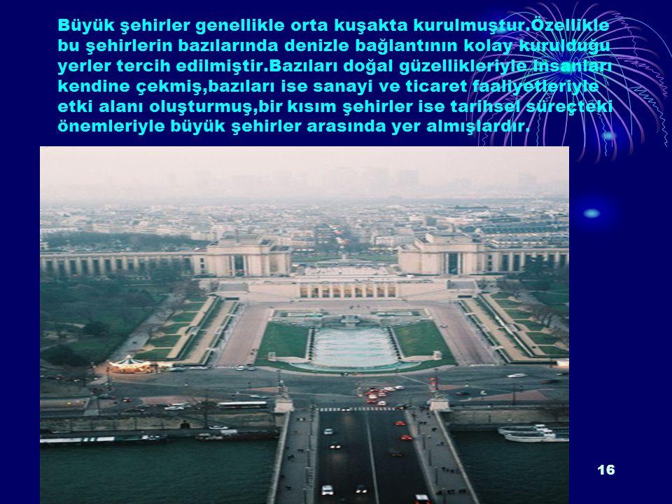 Cografya.bizMuhammed Doruk15 A.DÜNYA'NIN BÜYÜK ŞEHİRLERİ NEREDE KURULMUŞTUR? Büyük şehirlerin genel özelliklerine bakıldığında her birinin çeşitli faa