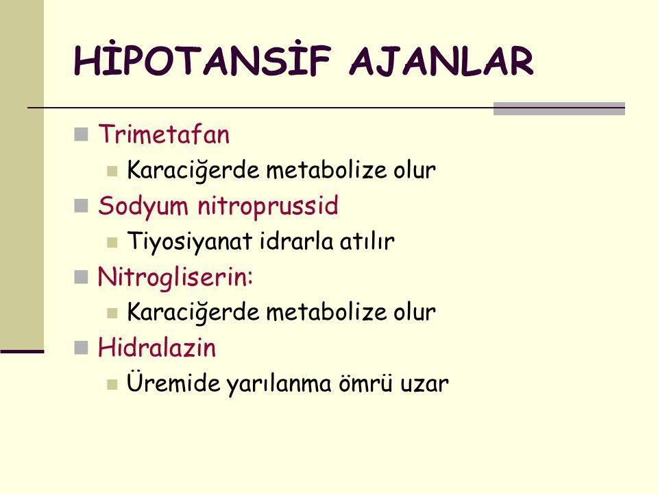 HİPOTANSİF AJANLAR Trimetafan Karaciğerde metabolize olur Sodyum nitroprussid Tiyosiyanat idrarla atılır Nitrogliserin: Karaciğerde metabolize olur Hi