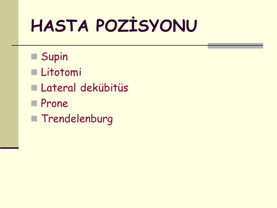 HASTA POZİSYONU Supin Litotomi Lateral dekübitüs Prone Trendelenburg