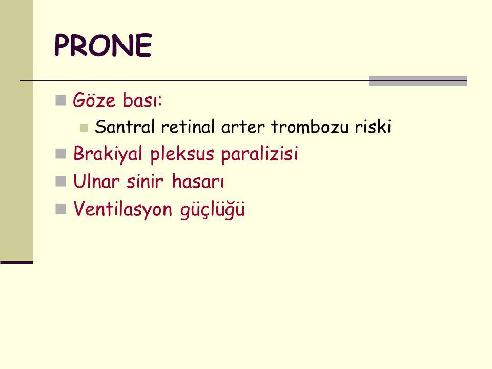 PRONE Göze bası: Santral retinal arter trombozu riski Brakiyal pleksus paralizisi Ulnar sinir hasarı Ventilasyon güçlüğü