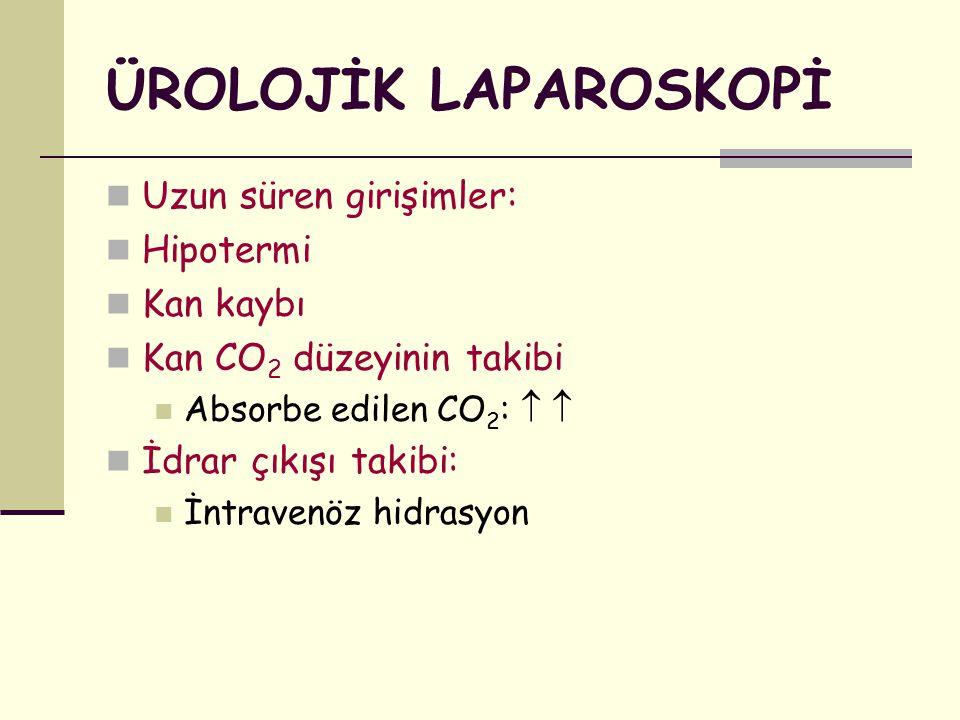 ÜROLOJİK LAPAROSKOPİ Uzun süren girişimler: Hipotermi Kan kaybı Kan CO 2 düzeyinin takibi Absorbe edilen CO 2 :   İdrar çıkışı takibi: İntravenöz hi