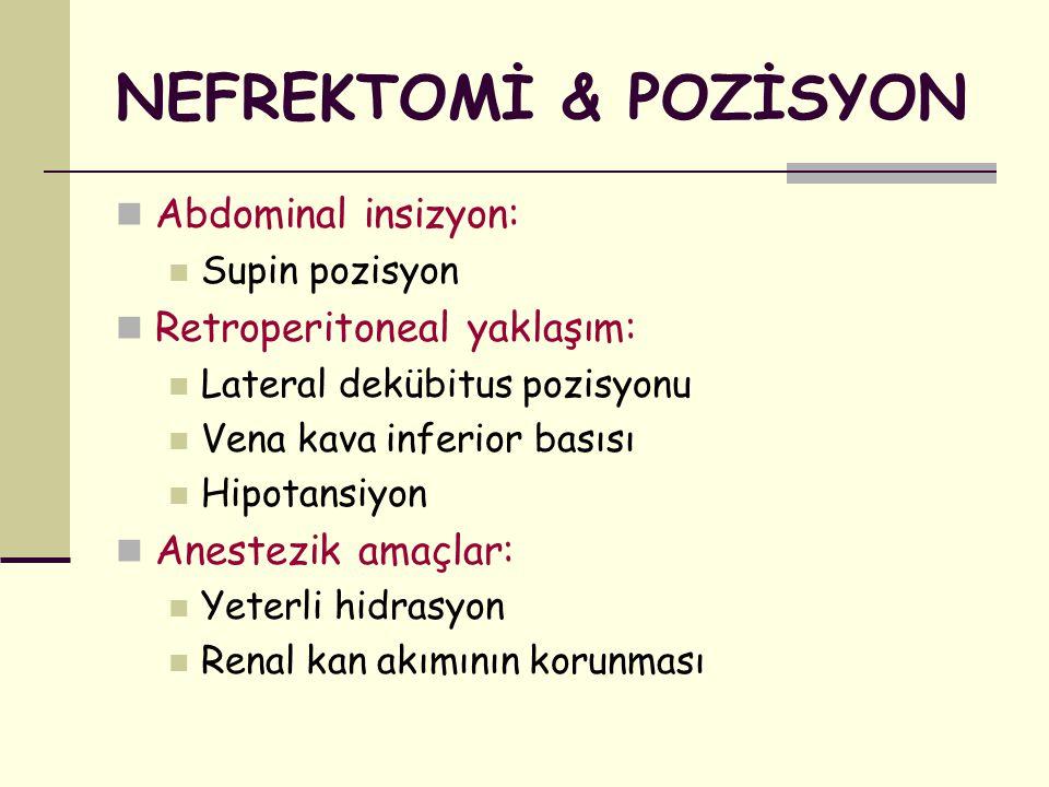 NEFREKTOMİ & POZİSYON Abdominal insizyon: Supin pozisyon Retroperitoneal yaklaşım: Lateral dekübitus pozisyonu Vena kava inferior basısı Hipotansiyon