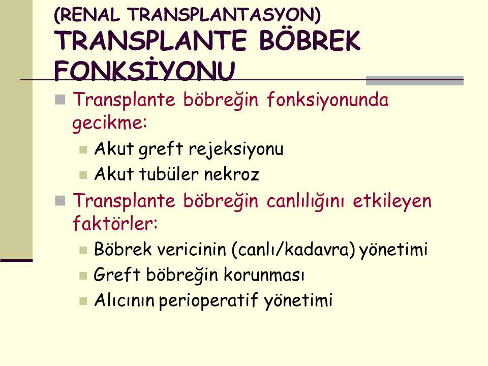 (RENAL TRANSPLANTASYON) TRANSPLANTE BÖBREK FONKSİYONU Transplante böbreğin fonksiyonunda gecikme: Akut greft rejeksiyonu Akut tubüler nekroz Transplan