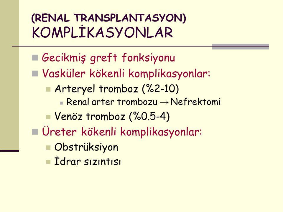 (RENAL TRANSPLANTASYON) KOMPLİKASYONLAR Gecikmiş greft fonksiyonu Vasküler kökenli komplikasyonlar: Arteryel tromboz (%2-10) Renal arter trombozu → Ne