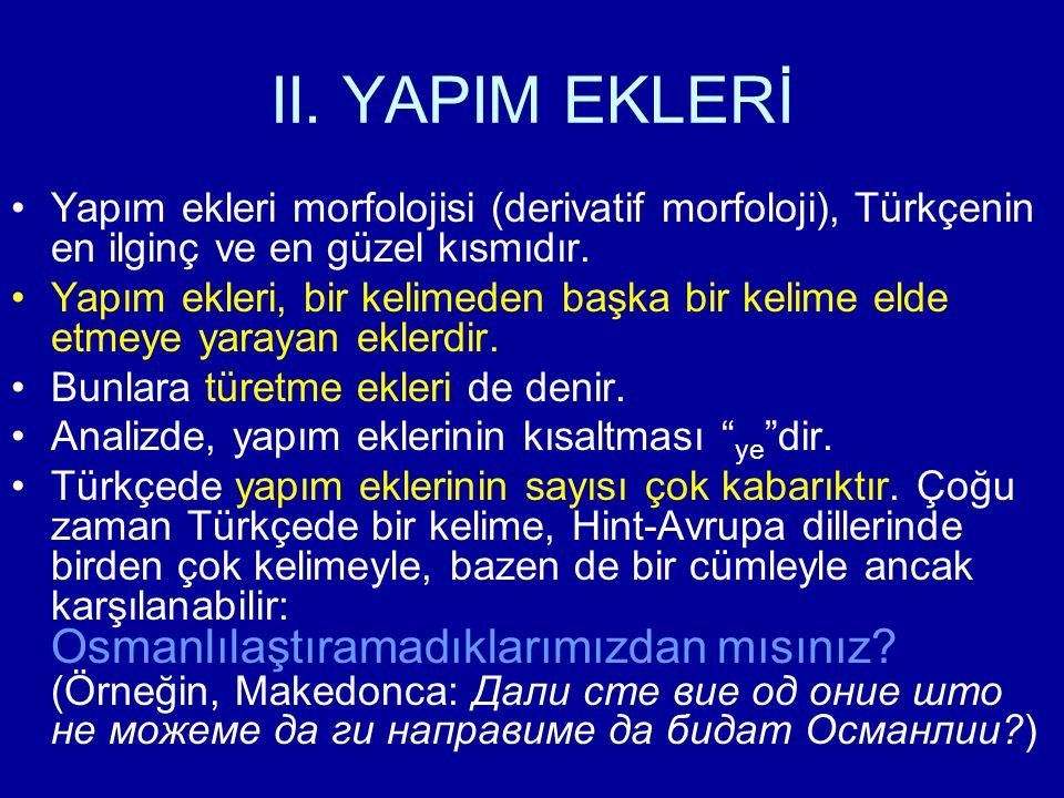 II. YAPIM EKLERİ Yapım ekleri morfolojisi (derivatif morfoloji), Türkçenin en ilginç ve en güzel kısmıdır. Yapım ekleri, bir kelimeden başka bir kelim