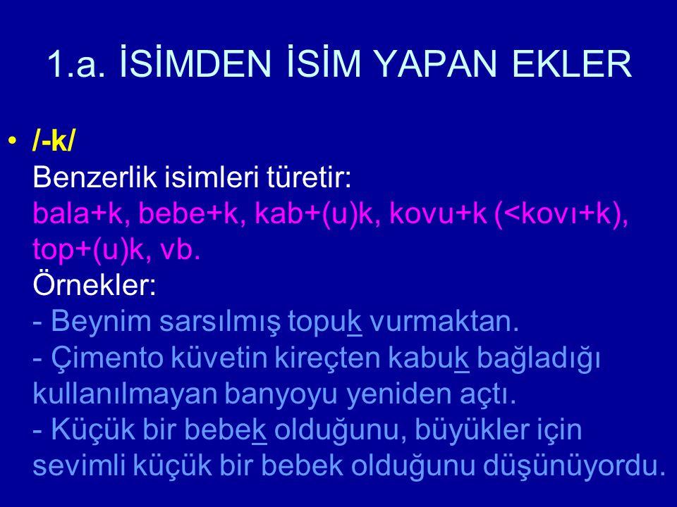 1.a. İSİMDEN İSİM YAPAN EKLER /-k/ Benzerlik isimleri türetir: bala+k, bebe+k, kab+(u)k, kovu+k (<kovı+k), top+(u)k, vb. Örnekler: - Beynim sarsılmış