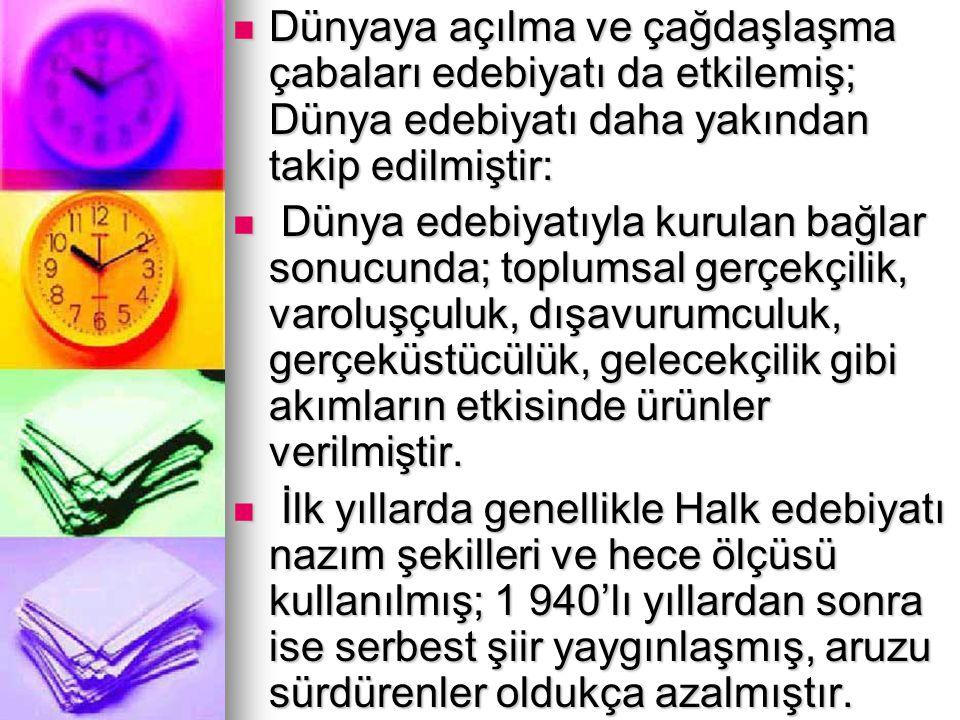 CUMHURİYET DÖNEMİ TÜRK EDEBİYATINDA ÖNEMLİ SANATÇILAR ABDÜLHAK ŞİNASİ HİSAR (1883—1963) İstanbul'un lüks semtlerini ve Boğaziçinı, eski aşklarını, eğlencelerini anlatmıştır.