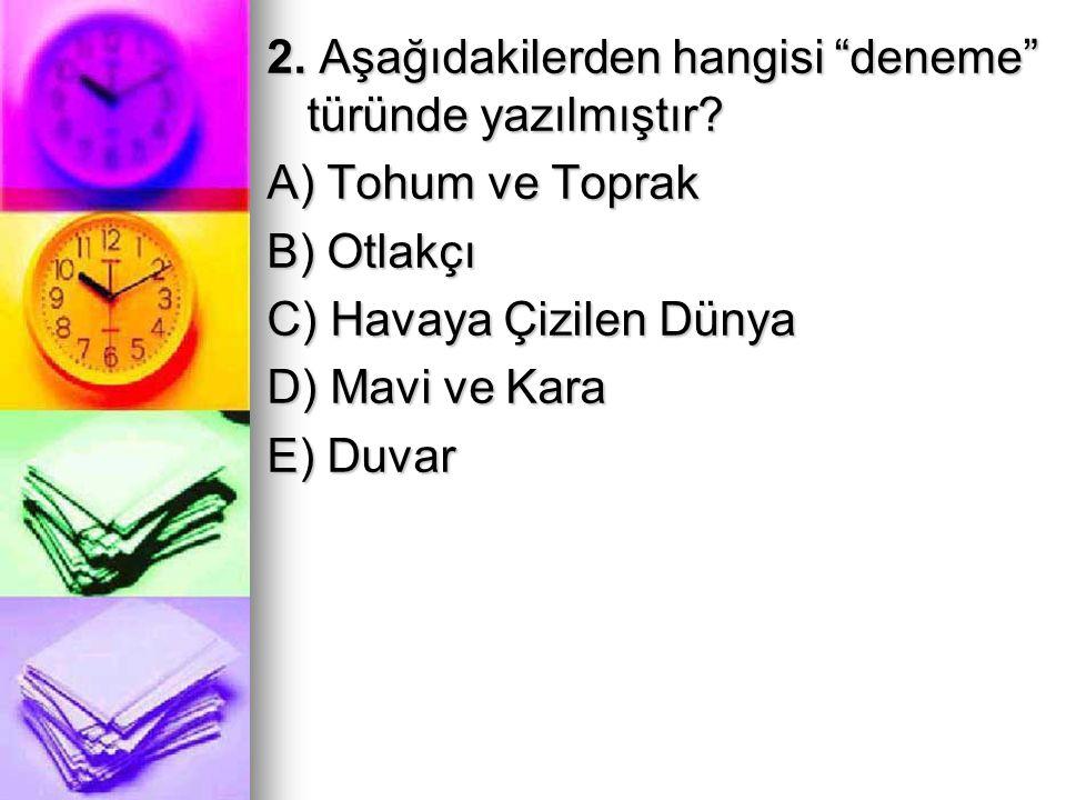 """2. Aşağıdakilerden hangisi """"deneme"""" türünde yazılmıştır? A) Tohum ve Toprak B) Otlakçı C) Havaya Çizilen Dünya D) Mavi ve Kara E) Duvar"""