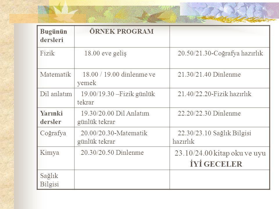 Bugünün dersleri ÖRNEK PROGRAM Fizik 18.00 eve geliş 20.50/21.30-Coğrafya hazırlık Matematik 18.00 / 19.00 dinlenme ve yemek 21.30/21.40 Dinlenme Dil