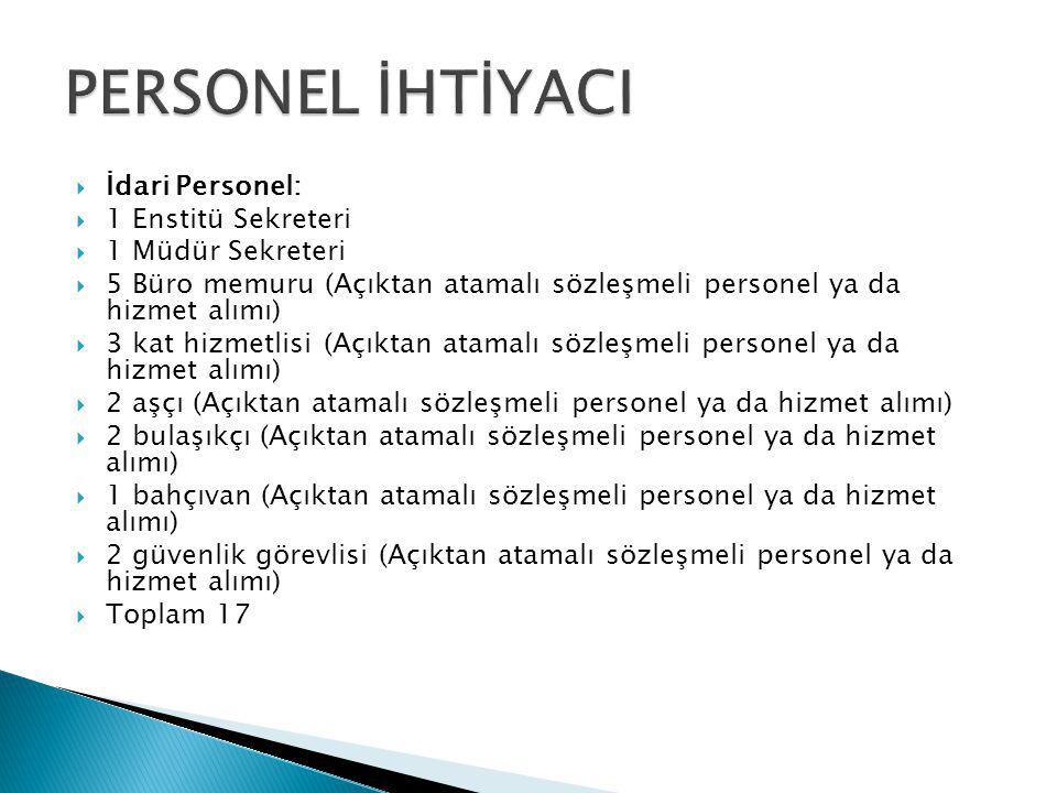  İdari Personel:  1 Enstitü Sekreteri  1 Müdür Sekreteri  5 Büro memuru (Açıktan atamalı sözleşmeli personel ya da hizmet alımı)  3 kat hizmetlis