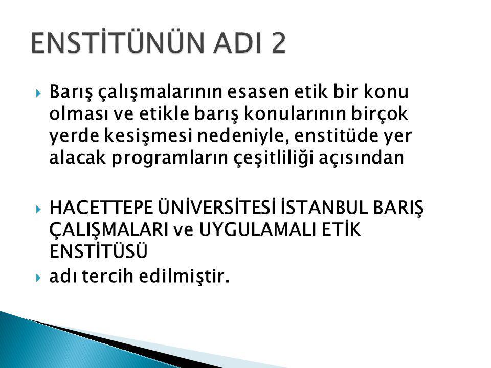  Enstitü önerisi kabul edildiği takdirde Batı ülkelerindeki üniversitelerin büyük bir kısmında, uzun bir zamandan beri lisans ve yüksek lisans doktora düzeyinde yaygın bir şekilde (200'ün üzerinde) faaliyet göstermekte olan Barış ve Etik Çalışmaları, Enstitü olarak Türkiye'de ilk defa Hacettepe Üniversitesi'nde açılacak olup, Üniversitemizi bir alanda daha ilk haline getirerek uluslararası prestijine katkıda bulunacaktır.