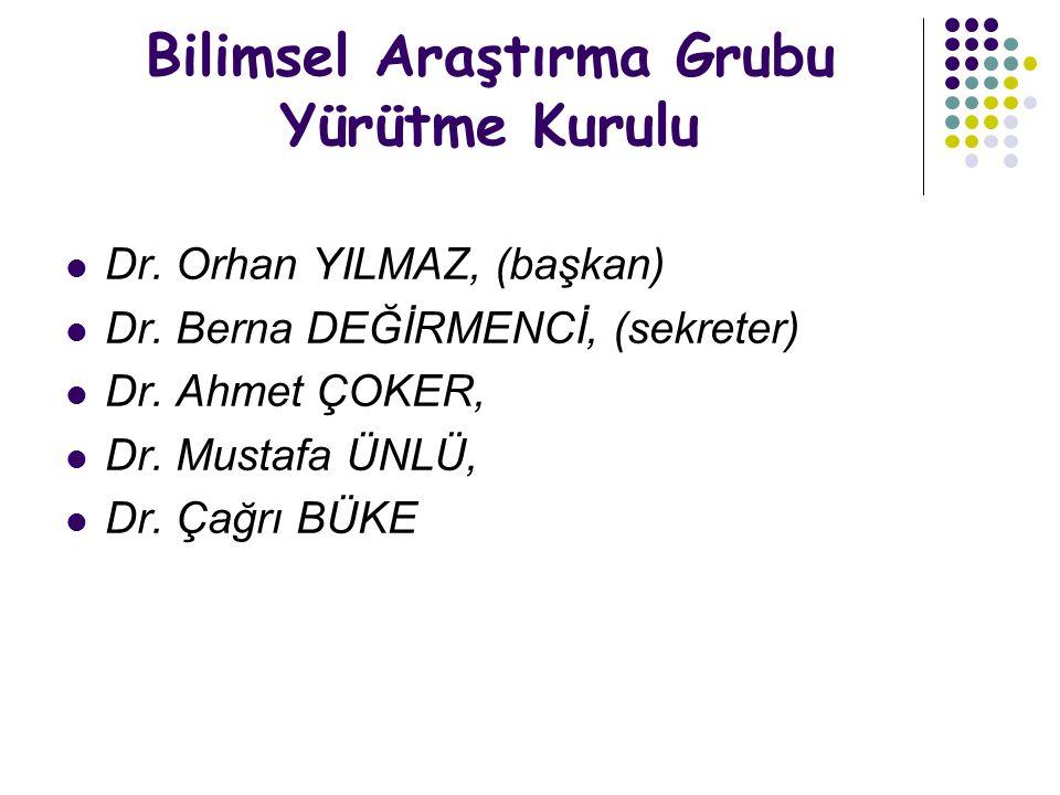 Bilimsel Araştırma Grubu Yürütme Kurulu Dr. Orhan YILMAZ, (başkan) Dr. Berna DEĞİRMENCİ, (sekreter) Dr. Ahmet ÇOKER, Dr. Mustafa ÜNLÜ, Dr. Çağrı BÜKE