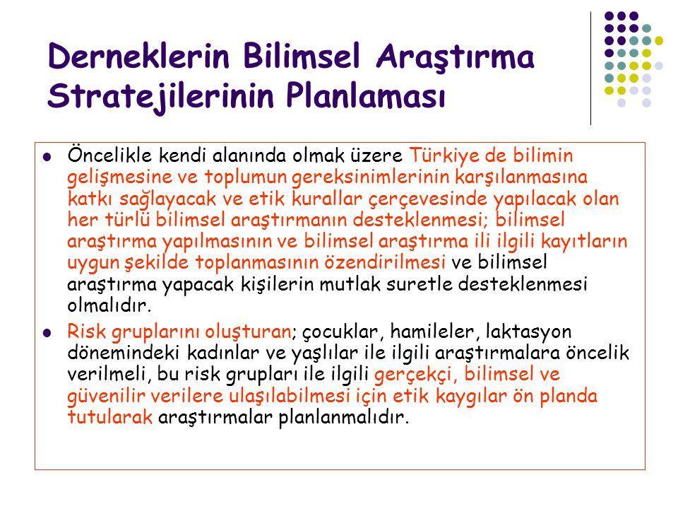 Derneklerin Bilimsel Araştırma Stratejilerinin Planlaması Öncelikle kendi alanında olmak üzere Türkiye de bilimin gelişmesine ve toplumun gereksinimle