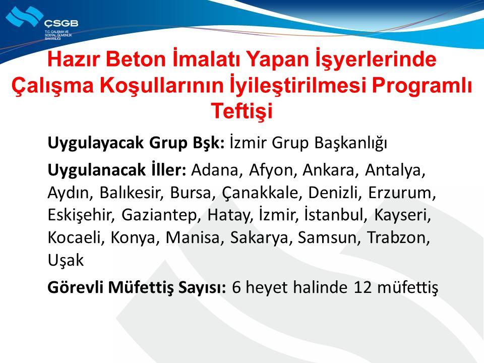 Uygulayacak Grup Bşk: İzmir Grup Başkanlığı Uygulanacak İller: Adana, Afyon, Ankara, Antalya, Aydın, Balıkesir, Bursa, Çanakkale, Denizli, Erzurum, Es