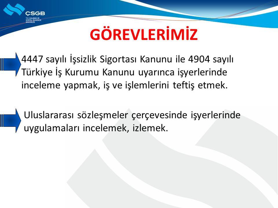 4447 sayılı İşsizlik Sigortası Kanunu ile 4904 sayılı Türkiye İş Kurumu Kanunu uyarınca işyerlerinde inceleme yapmak, iş ve işlemlerini teftiş etmek.