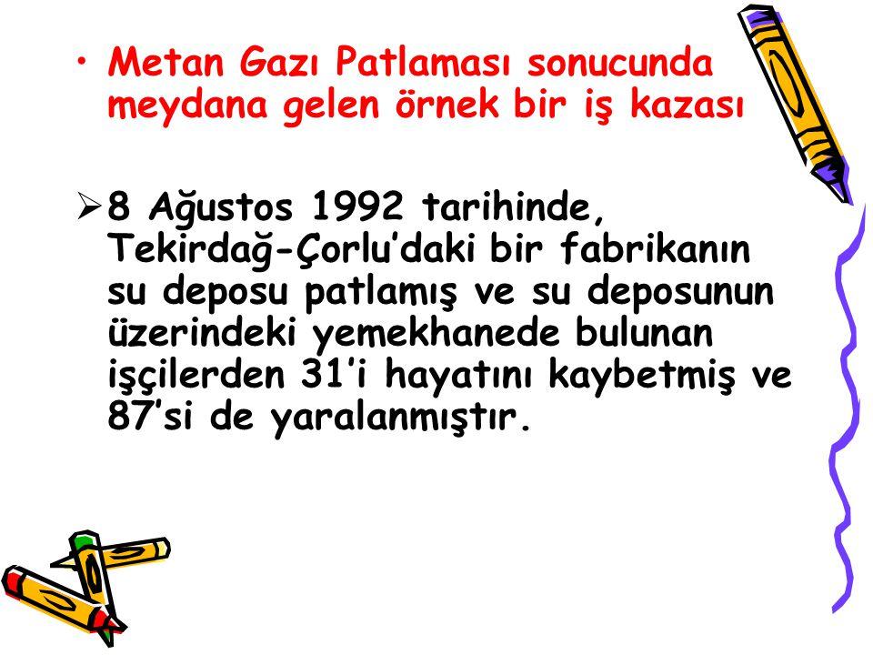 Metan Gazı Patlaması sonucunda meydana gelen örnek bir iş kazası  8 Ağustos 1992 tarihinde, Tekirdağ-Çorlu'daki bir fabrikanın su deposu patlamış ve su deposunun üzerindeki yemekhanede bulunan işçilerden 31'i hayatını kaybetmiş ve 87'si de yaralanmıştır.