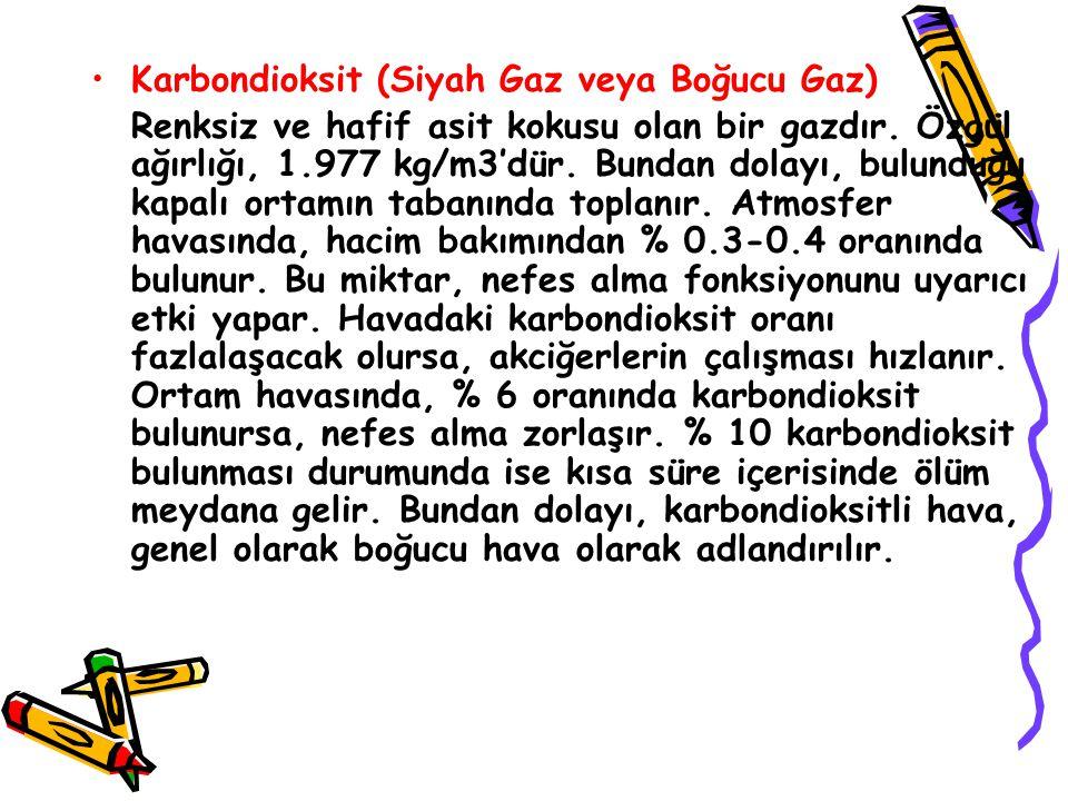 Karbondioksit (Siyah Gaz veya Boğucu Gaz) Renksiz ve hafif asit kokusu olan bir gazdır.