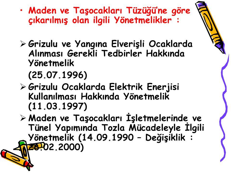 Maden ve Taşocakları Tüzüğü'ne göre çıkarılmış olan ilgili Yönetmelikler :  Grizulu ve Yangına Elverişli Ocaklarda Alınması Gerekli Tedbirler Hakkında Yönetmelik (25.07.1996)  Grizulu Ocaklarda Elektrik Enerjisi Kullanılması Hakkında Yönetmelik (11.03.1997)  Maden ve Taşocakları İşletmelerinde ve Tünel Yapımında Tozla Mücadeleyle İlgili Yönetmelik (14.09.1990 – Değişiklik : 26.02.2000)