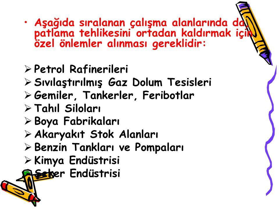 Aşağıda sıralanan çalışma alanlarında da, patlama tehlikesini ortadan kaldırmak için özel önlemler alınması gereklidir:  Petrol Rafinerileri  Sıvıla