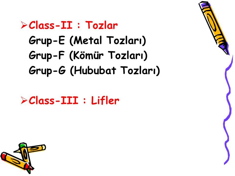  Class-II : Tozlar Grup-E (Metal Tozları) Grup-F (Kömür Tozları) Grup-G (Hububat Tozları)  Class-III : Lifler