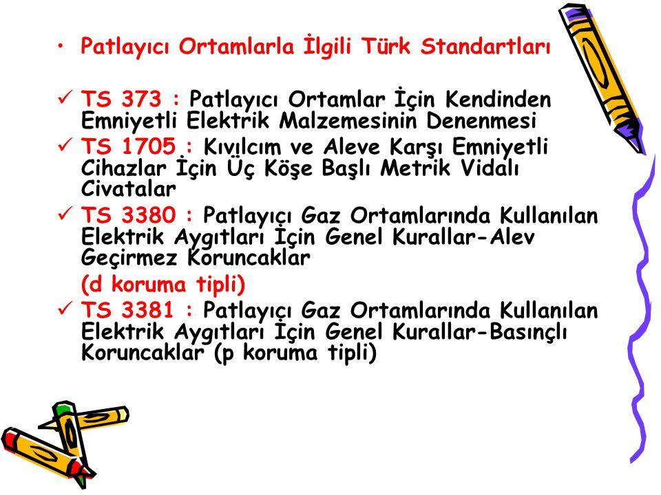 Patlayıcı Ortamlarla İlgili Türk Standartları TS 373 : Patlayıcı Ortamlar İçin Kendinden Emniyetli Elektrik Malzemesinin Denenmesi TS 1705 : Kıvılcım ve Aleve Karşı Emniyetli Cihazlar İçin Üç Köşe Başlı Metrik Vidalı Civatalar TS 3380 : Patlayıcı Gaz Ortamlarında Kullanılan Elektrik Aygıtları İçin Genel Kurallar-Alev Geçirmez Koruncaklar (d koruma tipli) TS 3381 : Patlayıcı Gaz Ortamlarında Kullanılan Elektrik Aygıtları İçin Genel Kurallar-Basınçlı Koruncaklar (p koruma tipli)
