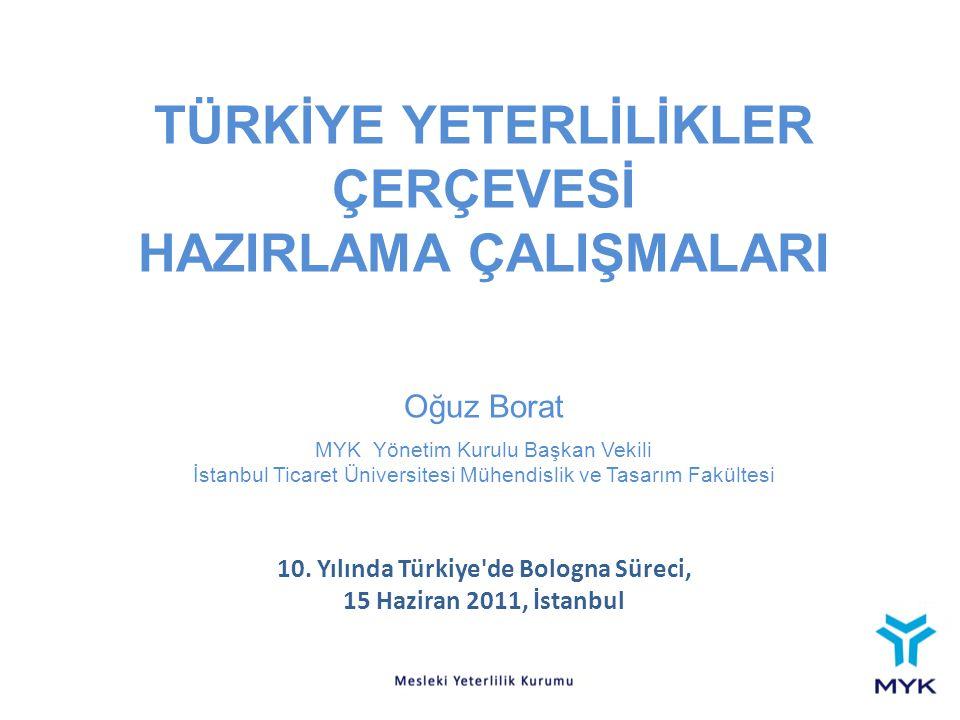 TÜRKİYE YETERLİLİKLER ÇERÇEVESİ HAZIRLAMA ÇALIŞMALARI Oğuz Borat MYK Yönetim Kurulu Başkan Vekili İstanbul Ticaret Üniversitesi Mühendislik ve Tasarım