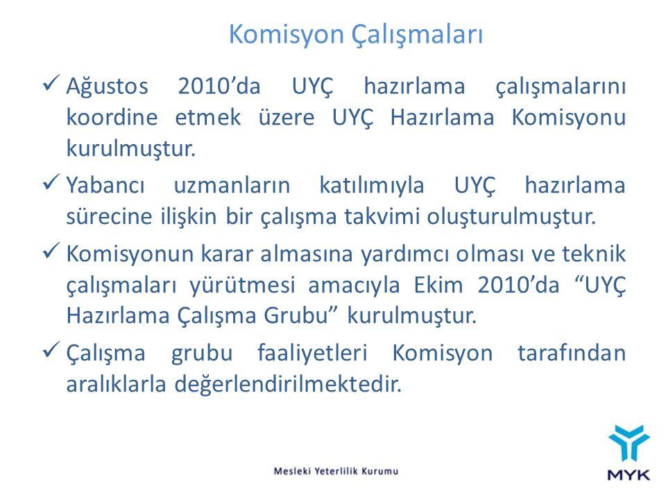 Komisyon Çalışmaları Ağustos 2010'da UYÇ hazırlama çalışmalarını koordine etmek üzere UYÇ Hazırlama Komisyonu kurulmuştur. Yabancı uzmanların katılımı