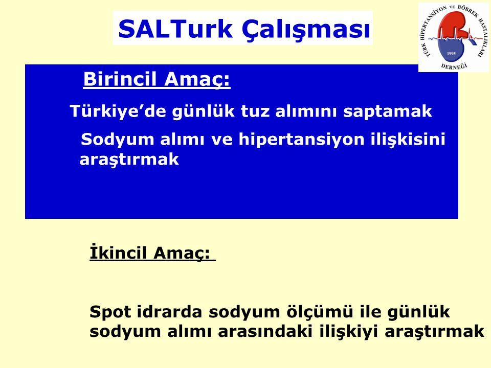 Birincil Amaç: Türkiye'de günlük tuz alımını saptamak Sodyum alımı ve hipertansiyon ilişkisini araştırmak İkincil Amaç: Spot idrarda sodyum ölçümü ile
