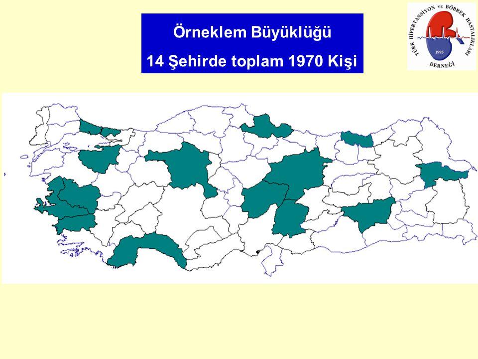Örneklem Büyüklüğü 14 Şehirde toplam 1970 Kişi