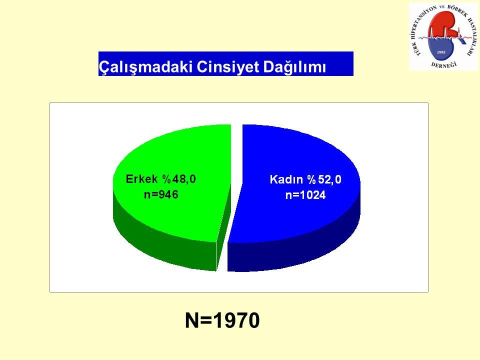Çalışmadaki Cinsiyet Dağılımı N=1970