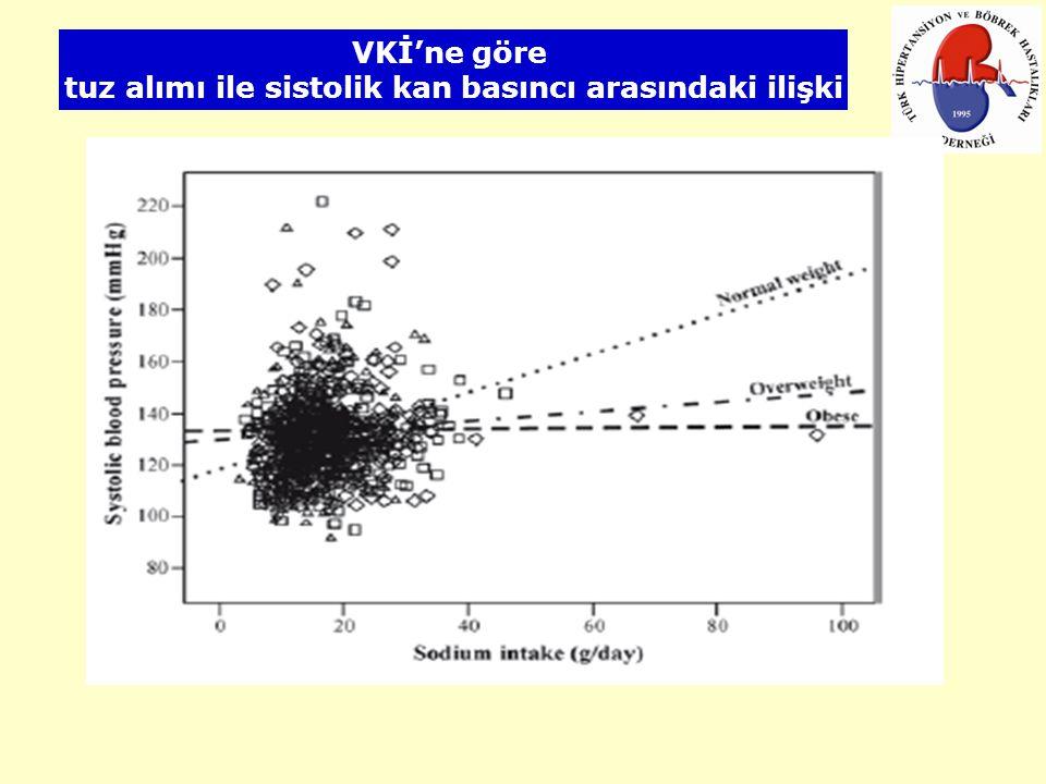 VKİ'ne göre tuz alımı ile sistolik kan basıncı arasındaki ilişki
